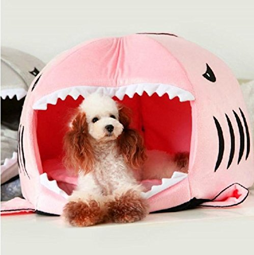 Cute Animal Shark Mouth Design Round Comfortable Indoor House Shelter Puppy Kitten Dog Cave Cat Bed with Big Paw Print and Removable Pet Bed Mat-Pink