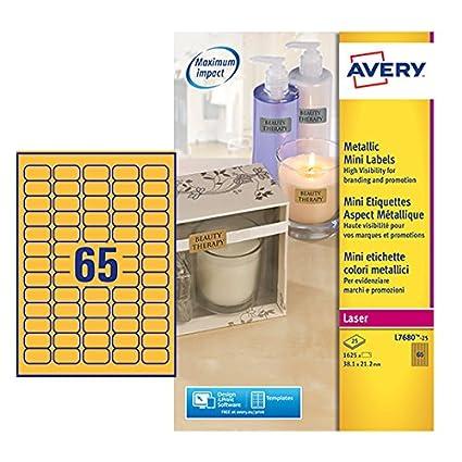 Avery L7680-25 Oro Etiqueta para impresora autoadhesiva etiqueta ...