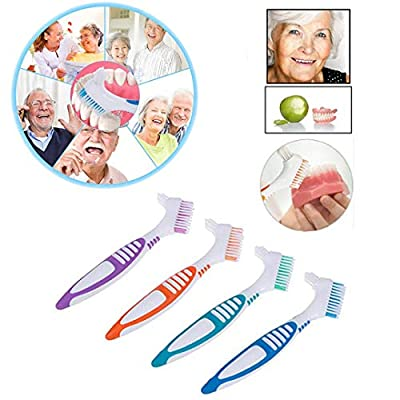4-Pack Denture Cleaning Brush Set- Premium Hygiene Denture Cleaner Set For Denture Care- Top Denture Cleanser Tool w/Multi-Layered Bristles & Ergonomic Rubber Handle (4 PACK): Beauty