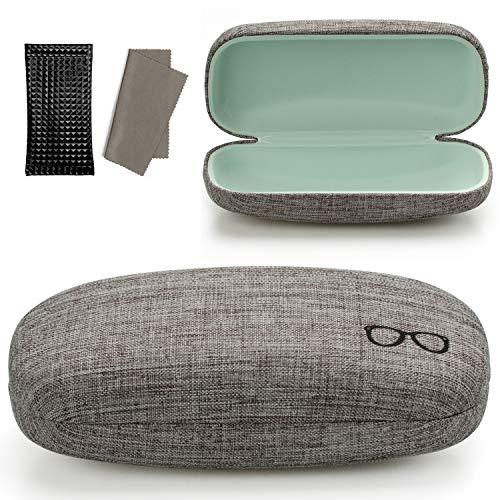 Vemiss Hard Shell Eyeglasses Case Linen Fabrics Large Sunglasses Case Concise (Large, Gray+Pu Black)