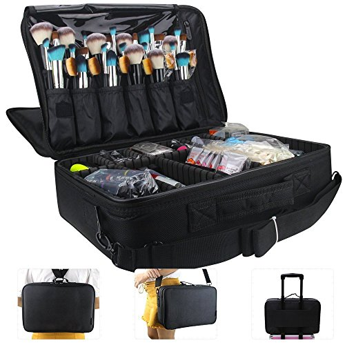 MONSTINA Large Capacity Makeup Case 3 Layers Cosmetic Organizer Brush Bag Makeup Train Case Makeup Artist Box for Hair Curler Hair Straightener Brush Set and Cosmetics 16.5x12x5.5 ()