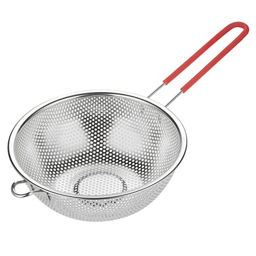 Juvale Kitchen Strainer Colander Basket - Fine Mesh Net Quality Stainless Steel Kitchen Sieve Strainer with 1 Silicone Handle for Straining, Draining, Salad, Spaghetti and Noodles