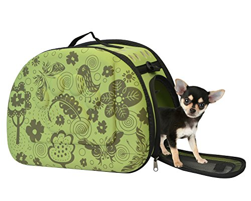 KritterWorld Pet Airline Approved Carrier EVA Lightweight Durable Small Dogs Cats Travel Carrier Bag Green Flower