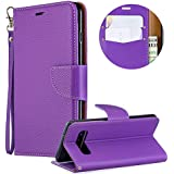 Luxury PU Leather Wallet Case for Samsung Galaxy S10,Flip Folio Case for Samsung Galaxy S10,Moiky Purple Multifunctional Magnetic Kickstand Case Cover With Wrist Strap and ID&Credit Cards Slots