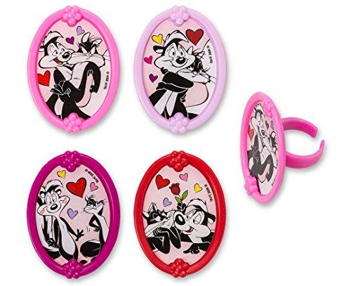 Ring Pew (CakePicke cake cupcake topper Pepe Le Pew & Penelope L'Amour Cupcake Rings - 12 Ct)