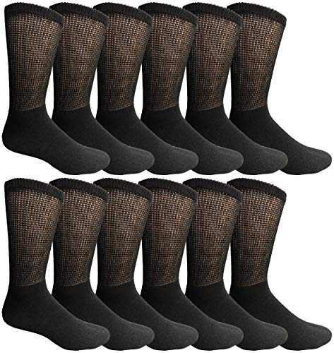 Yacht & Smith King Size Loose Fit Non-Binding Soft Cotton Diabetic Crew Socks, Bulk Value Pack (Smith Cotton Overalls)