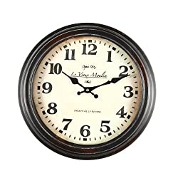 Adeco CK0020 14~15 Black Brown Antique-Look Dial Decorative Vintage Retro Traditional Wall Hanging Le Vieux Moulin Round Circle Iron Clock, Non Ticking Silent Hands, Home Office Decor, Brown