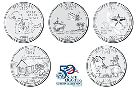 2004-D State Quarters All 5 States From Mint Set