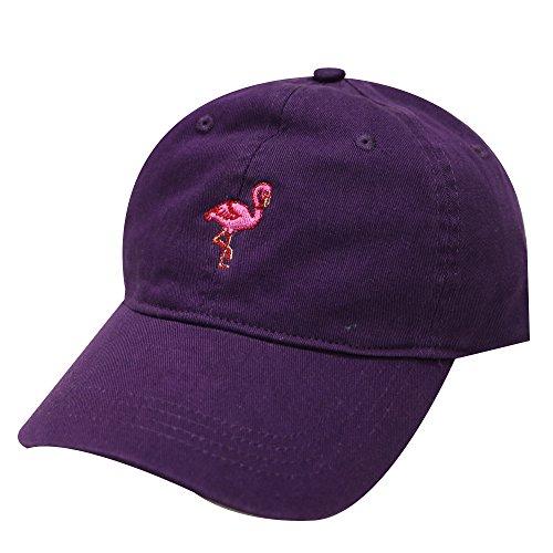 City Hunter C104 Flamingo Small Embroidery Cotton Baseball Cap 13 Colors (Purple) ()
