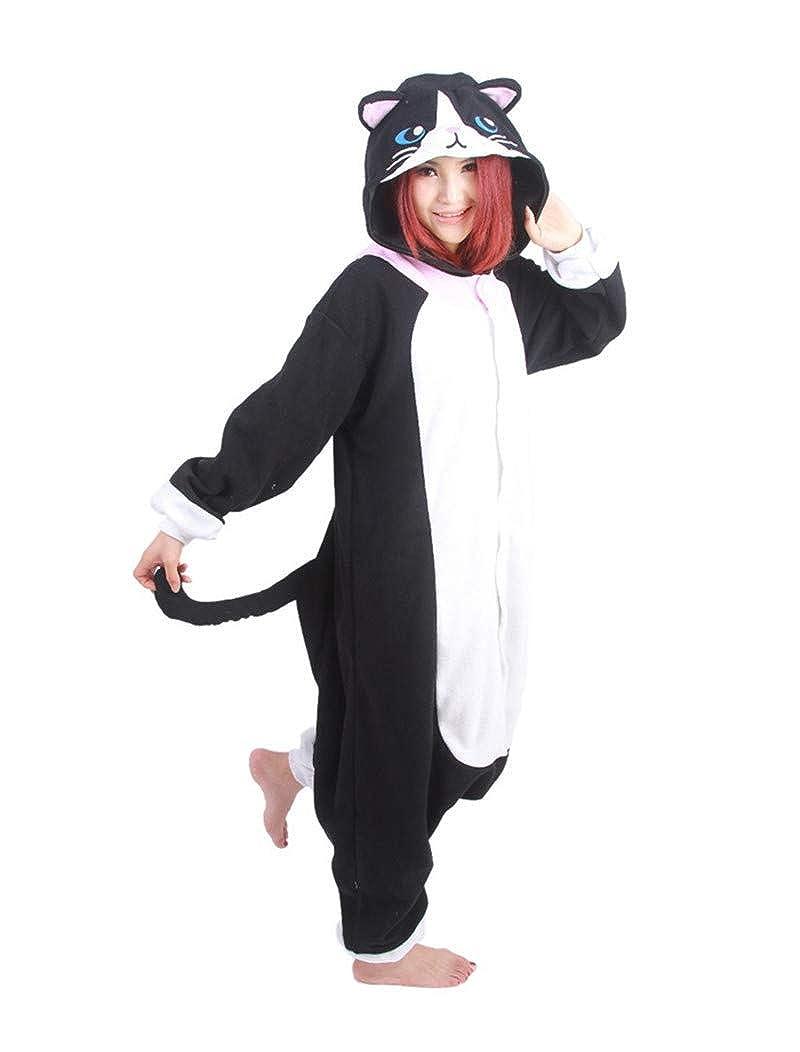 Kigurumi Pigiama Unisex per Adulti Bambini Animale Cosplay, Gatto Nero XHEU-SY-XKHM