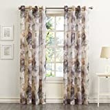 No. 918 Andorra Watercolor Floral Crushed Texture Sheer Voile Curtain Panel, 51″ x 95″, Mulberry Review
