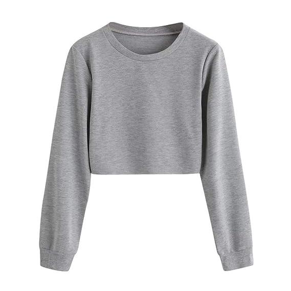 wholesale dealer 6e55e cbdb9 Geili Sweatshirt Damen,Frauen Langarm Sweatshirt Damen Mädchen O-Ausschnitt  Solid Color Pullover Crop Tops Bluse T-Shirt Herbst Kurze Sportoberteile
