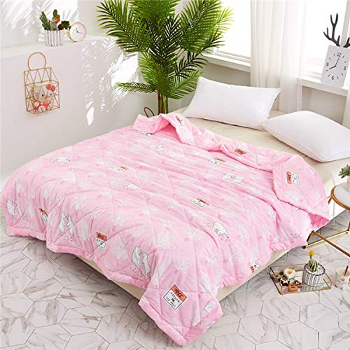 GUOSENLIN Pink Marie Cat Printing Stripe Summer Quilts Comforters Children's Girls Bedding Washing Cotton Fabric Single Twin Queen Size 1pc 200x230cm Style - Marie Stripe