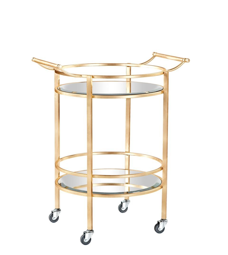 Burnham Home 17037 Evans bar Cart-Serving Cart, Gold Leaf