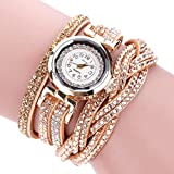 Hunputa Women Luxury Crystal Women Gold Bracelet Quartz Wristwatch Rhinestone Clock Ladies Dress Gift Watches (Gold)