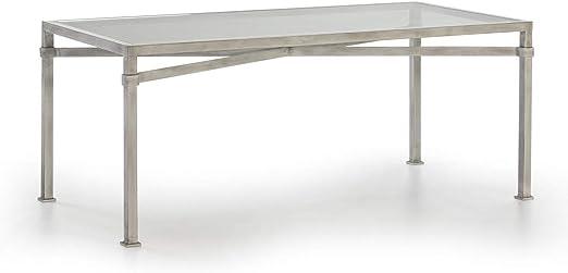NTT Mesa Comedor 180x90x75 Cristal/Metal Blanco Antique ...