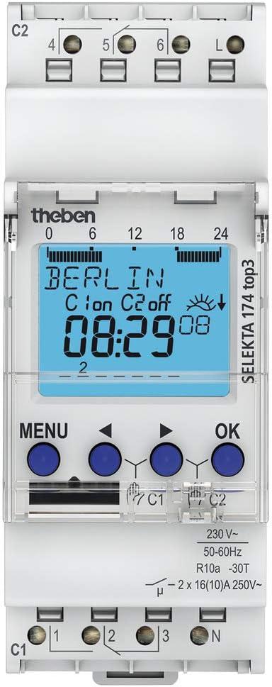 Theben SELEKTA 174 top3 1740130 Interruttore orario Astronomico digitale settimanale a 2 canali perfetto per lampade LED con programmazione da App