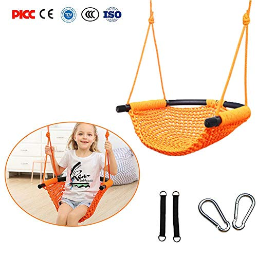 Children's Swing Indoor/Outdoor Rope Net Swing – Great for Tree, Swing Set, Backyard, Playground, Playroom by Gentman