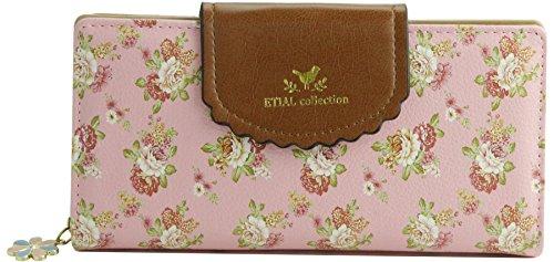 ETIAL Women's Vintage Floral Zip Wallet Faux Leather Card Holder Pink - Pink Floral Wallet
