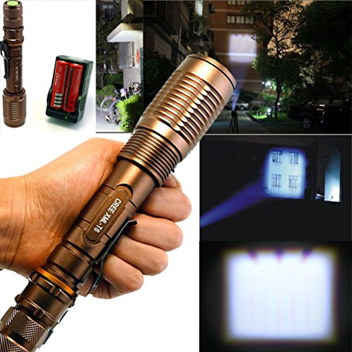 1Pc Greatest Popular 5-Mode LED Flashlight 3000LM Tactical Light 18650 Rechargeable Adjustable Focus Color Bronze with Battery Charger