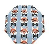 KUWT Cute Fox Bow Pattern Compact Travel Umbrella Anti-UV Protective Waterproof Umbrella Automatic Open