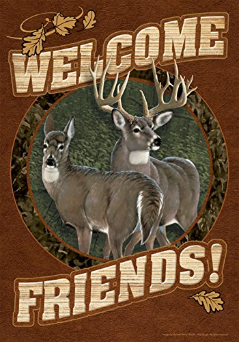 Toland Home Garden Deer Welcome 12.5 x 18 Inch Decorative Fall Autumn Wildlife Buck Doe Friends Garden Flag