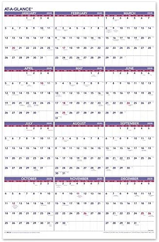 AT GLANCE Yearly Calendar Vertical