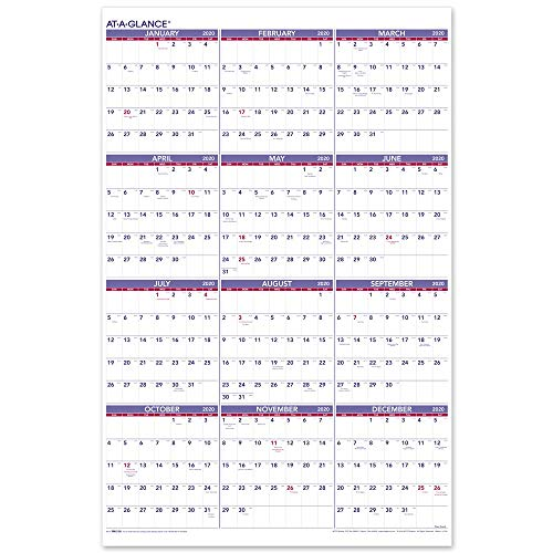 "AT-A-GLANCE 2020 Yearly Wall Calendar, 24"" x 36"", XLarge, Vertical (PM1228)"