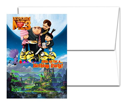 12 DESPICABLE ME 3 Birthday Invitation Cards (12 White Envelops Included) -