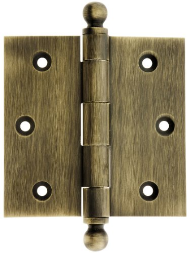 House of Antique Hardware W-04HH-220-AB Solid Brass Door Hinge with Ball Finials, 3 1/2