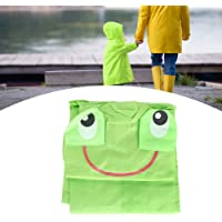 Raincoat, Children Cute Cartoon Waterproof Hooded Rain Coat Kids Student Rainwear Sleeve with Elastic Band Raincoat with 2 Pockets(Green)