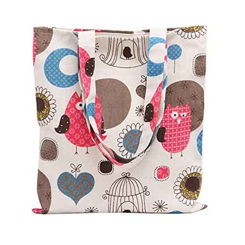 Nuni Women's Cute Owl Print Cotton Canvas Tote Bag (Owl with Heart Zip ()