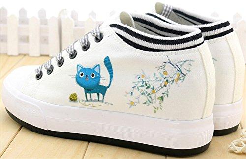 Satuki Caché Talon Mode Baskets Pour Les Femmes, Wedges Plate-forme Lacent Casual Toile Blanche Sport Chaussures Un