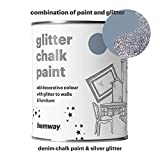 Hemway Denim Chalk Paint (with Silver Glitter) Sparkle Matt finish Wall and Furniture Paint 1L / 35oz Shabby Chic Vintage Chalky Crystal (25 Glittery Colours Available)