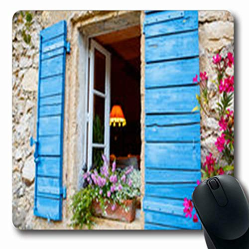 Pandarllin Mousepads Tile Part Provencal House Travel Small Typical Town Provence Oblong Shape 7.9 x 9.5 Inches Oblong Gaming Mouse Pad Non-Slip Rubber Mat