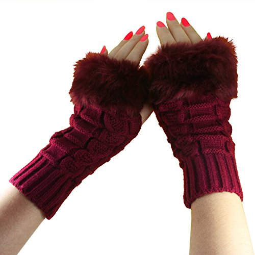 Women Girls Soft Wool Knit Faux Fur Winter Fingerless Gloves Cold Weather Mitten Arm Hand Warmer, Long/Medium/Short Sleeve