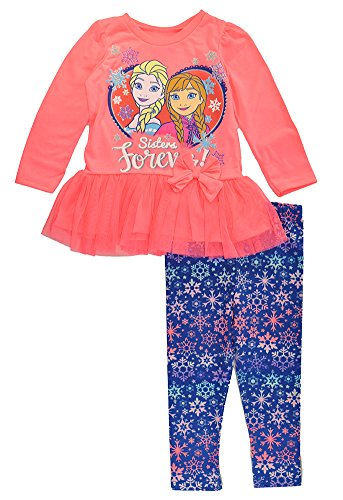 [Frozen Disney Little Girls Toddler Tutu Tunic 2pc Legging Set, Neon Coral 4T] (Frozen Outfit For Toddlers)