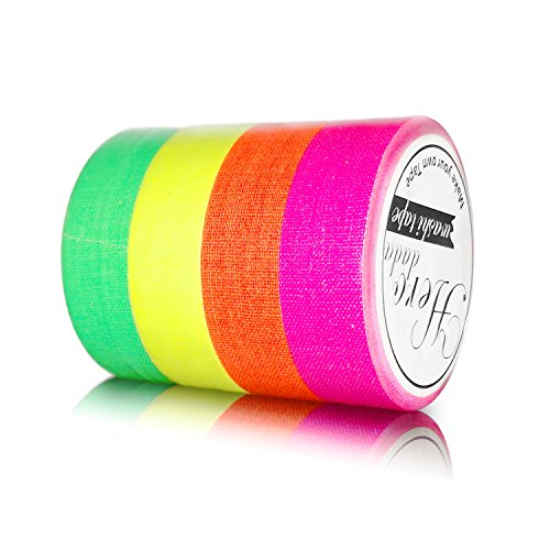 Herodada 4-Pack Fluorescent Neon Gaffer Tape UV Blacklight Reactive Decorative Tape for Halloween Decorations, Glow Dance Party, Theatre -
