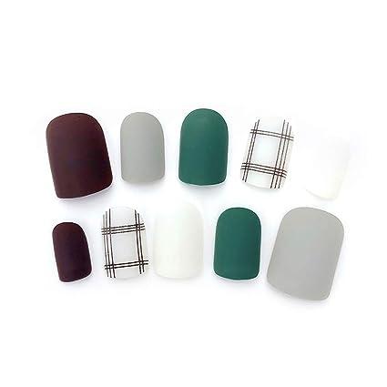 CoralStore - 24 uñas postizas de uñas postizas de diseño corto, cobertura completa de uñas