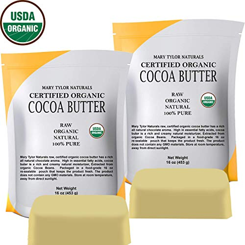 Cocoa Butter 2 lb , Certified Organic by Mary Tylor Naturals Raw Unrefined, Non-Deodorized, Rich In Antioxidants Great For DIY Recipes, Lip Balms, Lotions, Creams, Stretch Marks