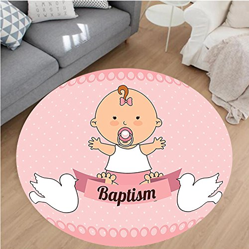 Beige Rug Rust Rugby (Nalahome Modern Flannel Microfiber Non-Slip Machine Washable Round Area Rug-by with Baptism Message on Ribbon Christ Religion Prayer Blessed Doves Picture Pink White area rugs Home Decor-Round 51