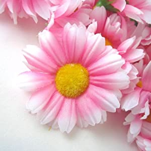 "(12) Silk Pink White Edge Gerbera Daisy Flower Heads , Gerber Daisies - 1.75"" - Artificial Flowers Heads Fabric Floral Supplies Wholesale Lot for Wedding Flowers Accessories Make Bridal Hair Clips Headbands Dress 57"