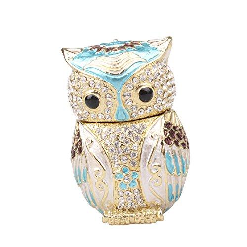 znewlook Newest Cute Owl Trinket Jewelry Box Trinket Owl Shaped Ring Holder ()