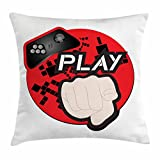 Lunarable Gamer Throw Pillow Cushion Cover, Gaming Illustration with Play Quote and Pointing Finger Abstract Squares Design, Decorative Square Accent Pillow Case, 16 X 16 inches, Cream Black Red
