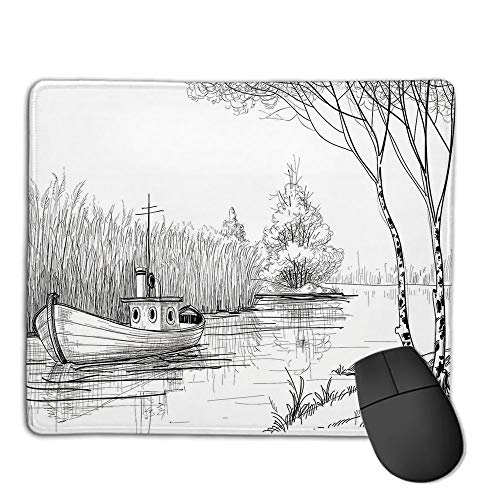 tched Edges Premium Waterproof Mouse Mat Pad,Apartment Decor,Boat on The River by The Water Reeds Fishing Lake Plants Hand Drawn Style Nature Art,Black White,Consoles More Enjoy ()