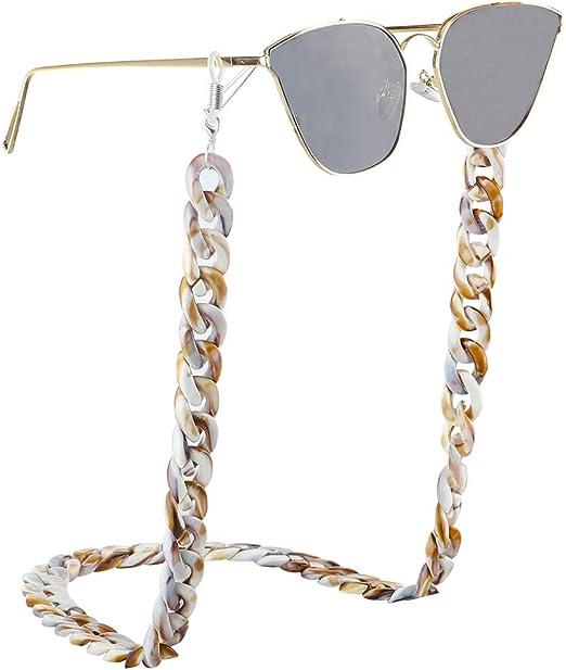 Huangjiahao Cadena de Gafas Cadena de Gafas Retro Acr/ílico Gafas Gafas de Sol Antideslizantes Correa de Caucho Lanyard Holder Necklace For Women Men Porta Gafas de Actividad Deportiva