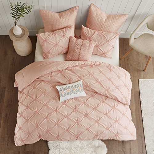 Pink Bed Bag - Urban Habitat Talia Comforter Set Full/Queen Size Bed in A Bag - Blush Pink, Pintuck – 7 Piece Bed Sets – Ultra Soft Microfiber Teen Bedding for Girls Bedroom