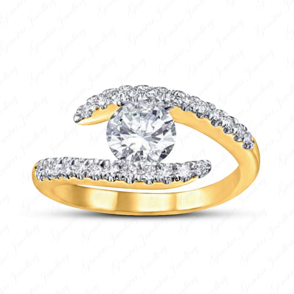 Gemstar Jewellery 14k Yellow Gold Over 925 Silver Wedding Couples Promise Ring with White Sim Diamond