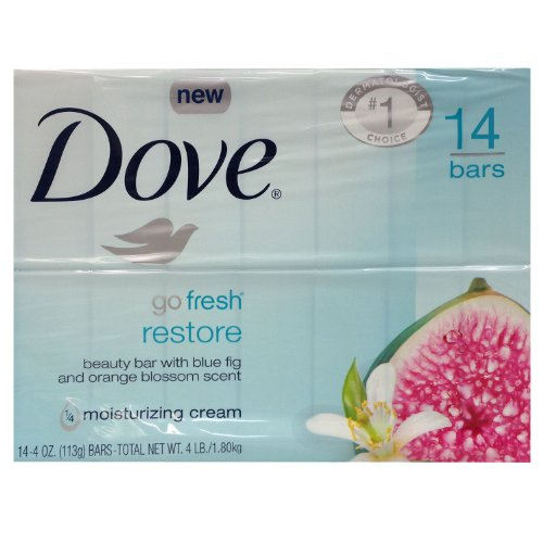 Dove Go Fresh Restore Beauty Bars with Blue Fig and Orange Blossom Scent – 14 Bars
