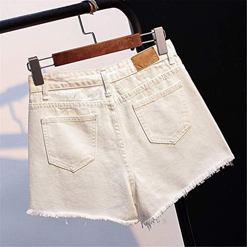 Mezclilla Mujer Mangas Verano Mujeres Las De Sin Crudas Sueltas White Cintura Sueltos Cortos Alta Pantalones 84qRw